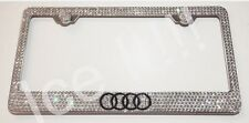 Audi Logo Stainless Steel license plate frame W Swarovski Crystals