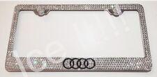Audi Logo Stainless Steel license plate frame W Swarovski Crystals