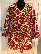 Womans Boden Trench Coat 16 Red Cream Belted Floral Cotton Jacket