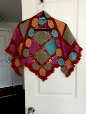 Samy Chalon Crochet Triangle Fringe Shawl/Scarf Multi-Colors