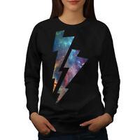 Wellcoda Space Thunder Womens Sweatshirt, Lightning Casual Pullover Jumper