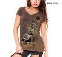 ALCHEMY Ladies Top Goth Grunge Vintage 'Risk It All' Skull Rose Brown All Sizes