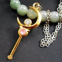Anime Sailor Moon Moon Stick Wand Necklace Metal Pendant Cosplay Gift
