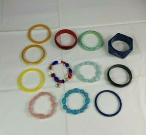 12 Pieces Costume Jewelry Bracelets Multi-color Yellow Black Lucite Thick Craft