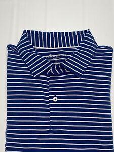Men's Peter Millar Seaside Wash SZ Medium Blue Stripe Short Sleeve Golf Shirt