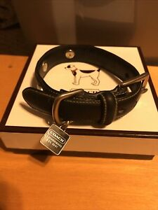 Coach Dog Collar Black Leather Grommets XS X Small