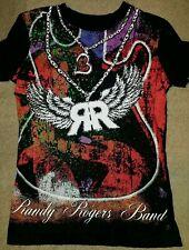 Womens Large Rock & Roll Cowgirl Randy Rogers Band Black T-shirt Rhinestones EUC