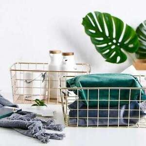 Metal Gold Wire Basket Pantry/Makeups/Fruit/Toy/Coffee Capsule Holder Storage