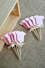 24 X BODYSUIT CUPCAKE/CAKE TOPPER PICKS / PINK WITH RIBBON BABY SHOWER/ PARTY