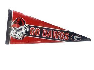 "Georgia Bulldogs Metal Pennant Flag New Red Blag Go Dawgs 21"" Dorm Garage"