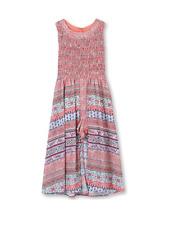 New Speechless Big Girls' Smocked Bodice Walk Through Dress, Coral Fuchsia, 14