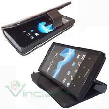 Custodia NERA pelle per Sony Xperia Ion Lt28i BOOKLET stand+tasche porta schede