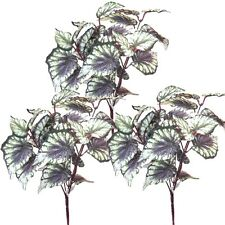 Set of 3 Artificial 31cm Begonia Plants - Decorative Plastic Plants