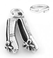 """SILVER """"BALLET SLIPPERS""""  CHARM/PENDANT WITH SPLIT RING"""