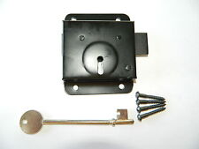 "PRESS DEAD LOCK BLACK 3"" X 3 3/4"" FOR SHED DOORS & GATES WITH FIXINGS"