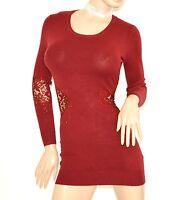 MAGLIONE ROSSO donna lungo maxi pull maglietta manica lunga pizzo strass zip Z3