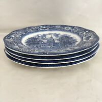 "Staffordshire Ironstone Liberty Blue Independence Hall 10"" Dinner Plates (4)"