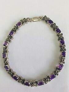 PRETTY STERLING SILVER 925 AMETHYST MARCASITE BRACELET- 7.75 INCHES