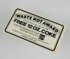 Bel COCA-COLA coupon USA 1970er-Waste Not Award-free 12 OZ COKE