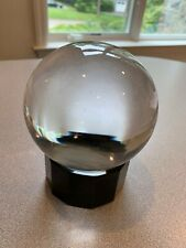 "Atlantis Crystal-4.5"" Clear Crystal Ball With Holder -Signed - Gulotta"
