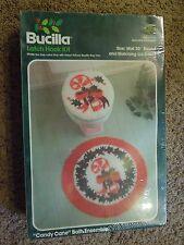Vintage Sealed Bucilla Latch Hook Kit Candy Cane Bath Ensembed