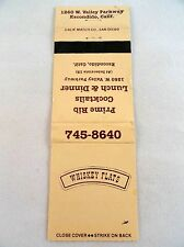 Matchbook Cover ~ WHISKEY FLATS RESTAURANT Escondido CA Rear Strike 20 Calif Mat