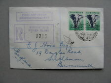 SOUTH AFRICA, R-cover ( Marion Island) FDC 1958, pair elephant 4d
