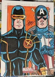 Marvel Universe 2011 SketchaFEX Card Cyclops Captain America Artist: Cal Slayton