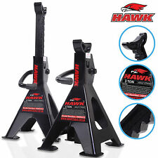NEW HAWK HEAVY DUTY 3 TON GARAGE WORKSHOP MECHANIC RATCHET JACK AXLE STAND PAIR