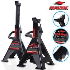 HAWK Heavy Duty 3 Ton Garage Workshop Mechanic Ratchet Jack Axle Stand Pair1
