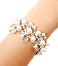 White Pearl Clear Crystal Vine Elegant Formal Party Wedding Fashion Bracelet