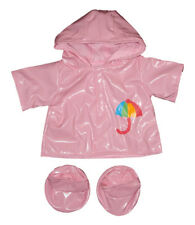 "Pink Raincoat & Boots Outfit teddy clothes fits 15"" Build a Bear"