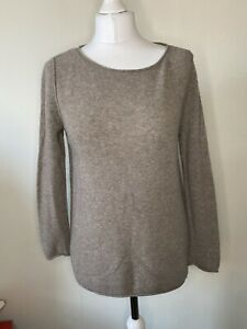 Uniqlo Brown 100% Cashmere Jumper Knit Size L Long Sleeve Soft