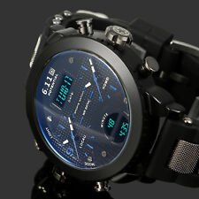 Mens Watch Quartz Digital Black Dial Rubber Band Blue Scale Analog Young Luxury