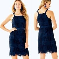 NWT Lilly Pulitzer Kayleigh Fern Gallery Lace Shift Cocktail Event Dress Navy 6