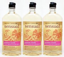3 Bath & Body Works Aromatherapy SENSUAL - JASMINE VANILLA Body Wash Bubble Bath