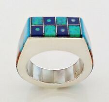 Fire Blue Opal Turquoise Lapiz Spiny Inlay .925 Sterling Silver Ring Size 12-1/2