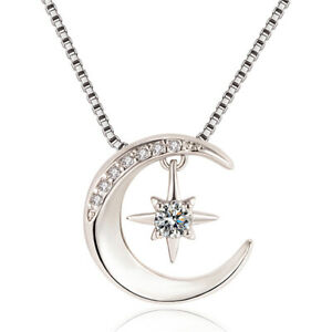 925 Sterling Silver Moon Star Hanged Pendant Chain Necklace Women Jewellery Gift