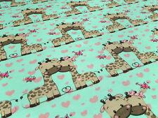 Stoff Baumwolle Jersey Giraffen Herzen mint braun rosa Kinderstoff Kleiderstoff