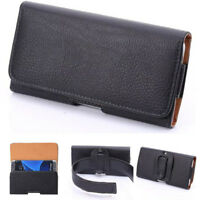 Black Premium Leather Universal Pouch Case Cover Holster/Belt Clip For Phone