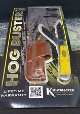 Utica Pigman Hog Buster Trapper Folding Blade Pocket Knife with Leather Sheath