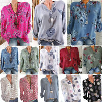 Women Plus Size V Neck Floral Shirts Blouse Summer Casual Long Sleeve Loose Top