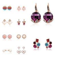 Simple Flower Ear Stud 18K Rose Gold Filled Hoop Earrings Women Fashion Jewelry