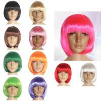14 Colors Unisex Straight Short Synthetic fiber Bob Hair Wigs Halloween Costume