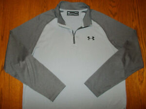UNDER ARMOUR HEAT GEAR 1/4 ZIP LONG SLEEVE GRAY LOOSE FIT SHIRT MENS LARGE EXC.