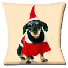 "BLACK TAN TERRIER SANTA HAT COAT CHRISTMAS PHOTO PRINT 16"" Pillow Cushion Cover"