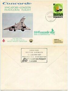 CONCORDE SINGAPORE 1977 INAUGURAL FLIGHT COVER Heathrow Airport