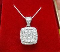 Deal! 1.00 CTW Genuine Round Cluster Diamond Halo Pendant Charm 14K Yellow Gold