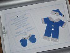 2 x Die Cut Felt Bleu Bébé Santa Costume Set embellissements-Fabrication Carte 7 cm x 7 cm
