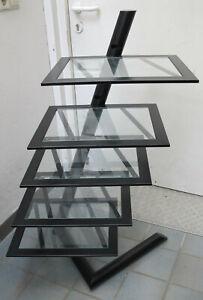 Design-Rack Audio Hifi-Turm für Stereoanlage Schrank Regal aus Metall und Glas